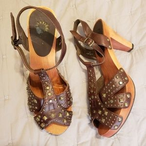 Studded Bohemian Leather upper wooden sole sandals